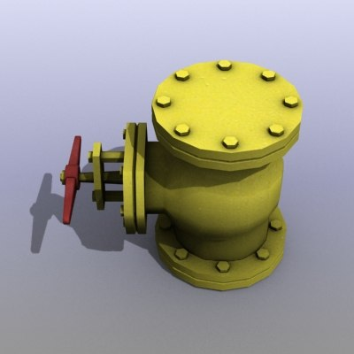 low-poly gas valve 3ds