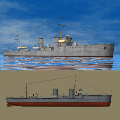 ww1 destroyer s class 3d 3ds