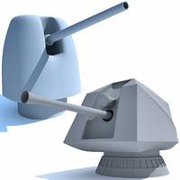2 deck guns 3d model