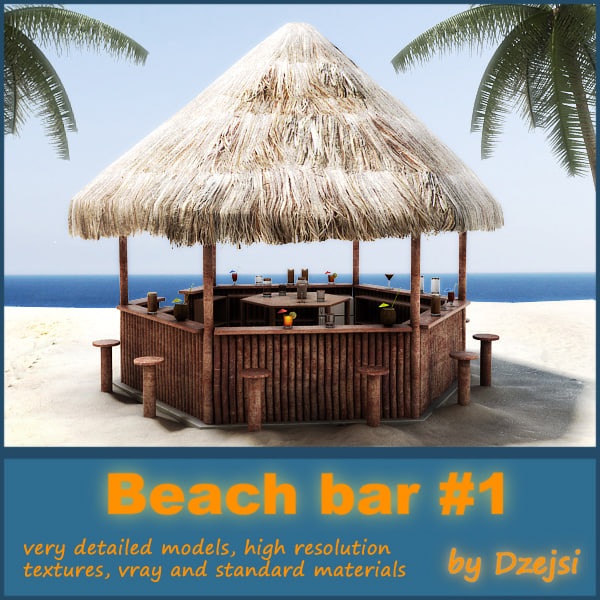 Beach bar 3d model for Food bar 3d model