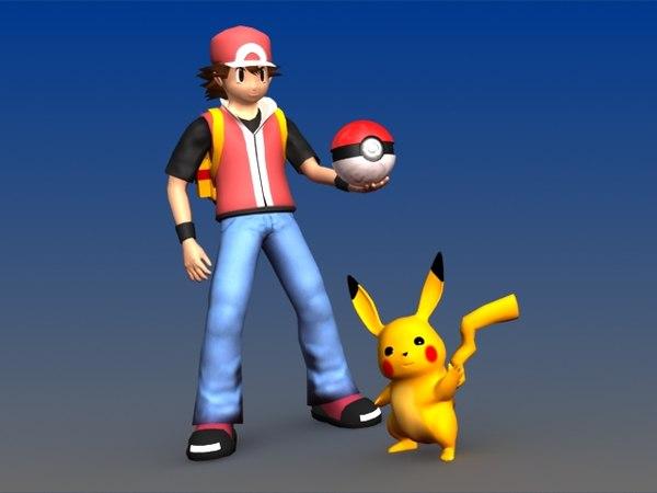 ash poke pikachu characters 3d model