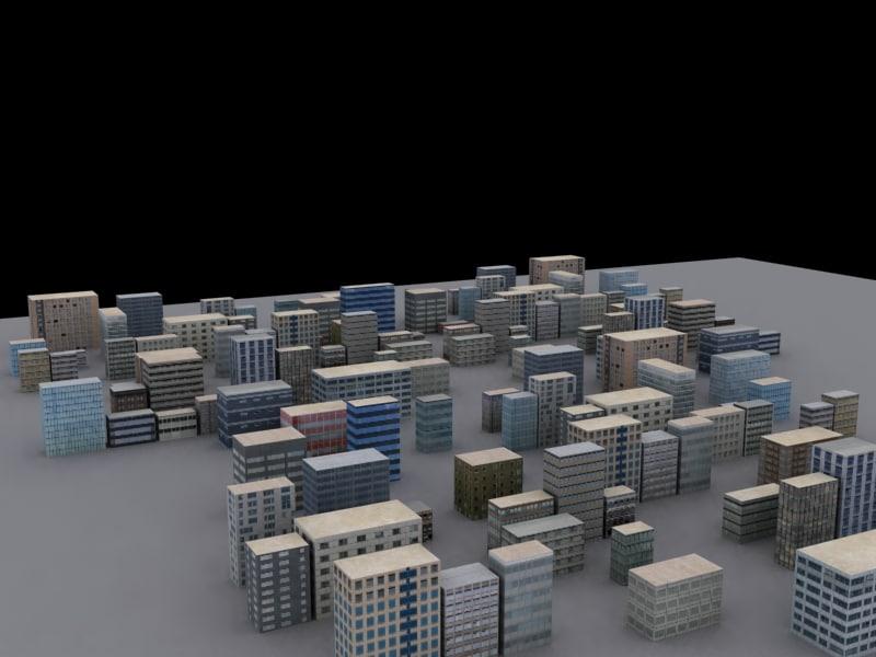 buildings block 3d model