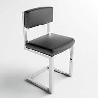 chrome leather chair - 3d max
