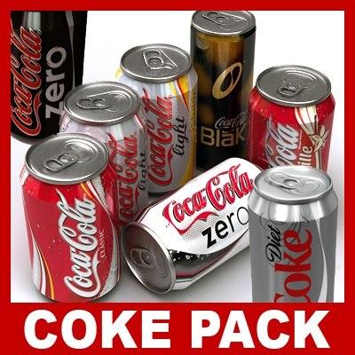 coca cola coke cans c4d