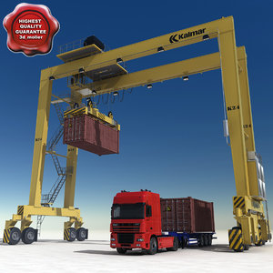 container truck rtg crane 3ds