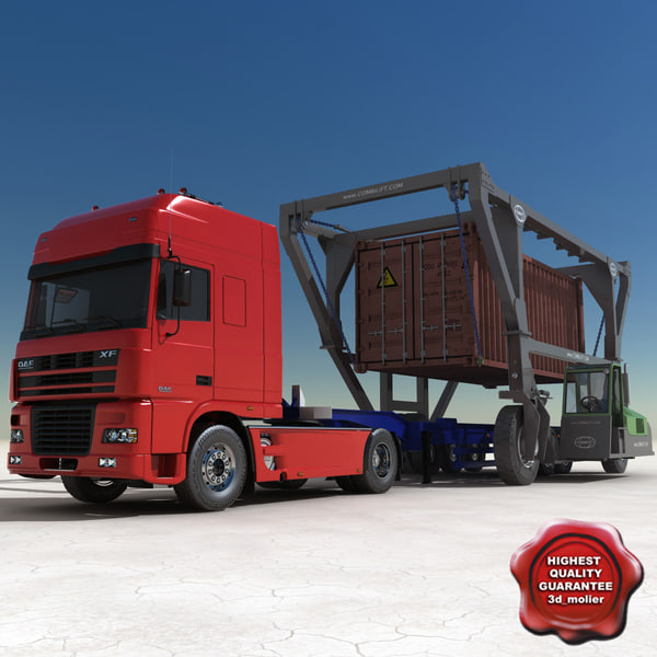 3ds max container truck straddle carrier