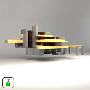 frank wright s falling water 3d max