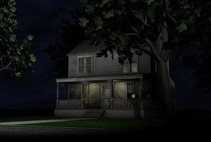 c4d old halloween house