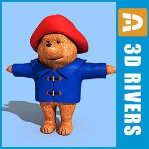 paddington bear character toy 3d model