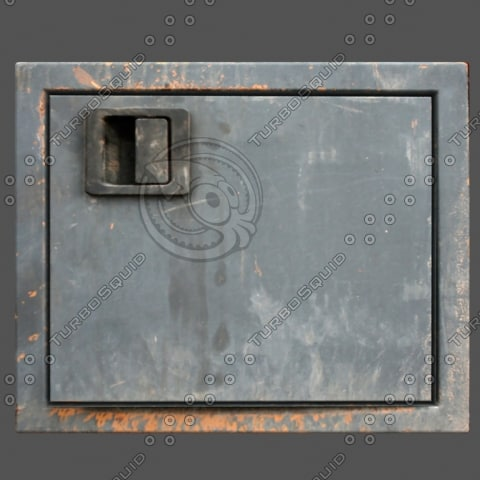 weathered door metal hatch 3d c4d