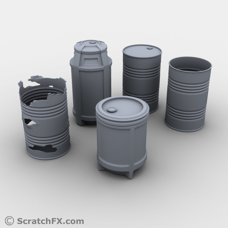 barrel set 5 3d obj