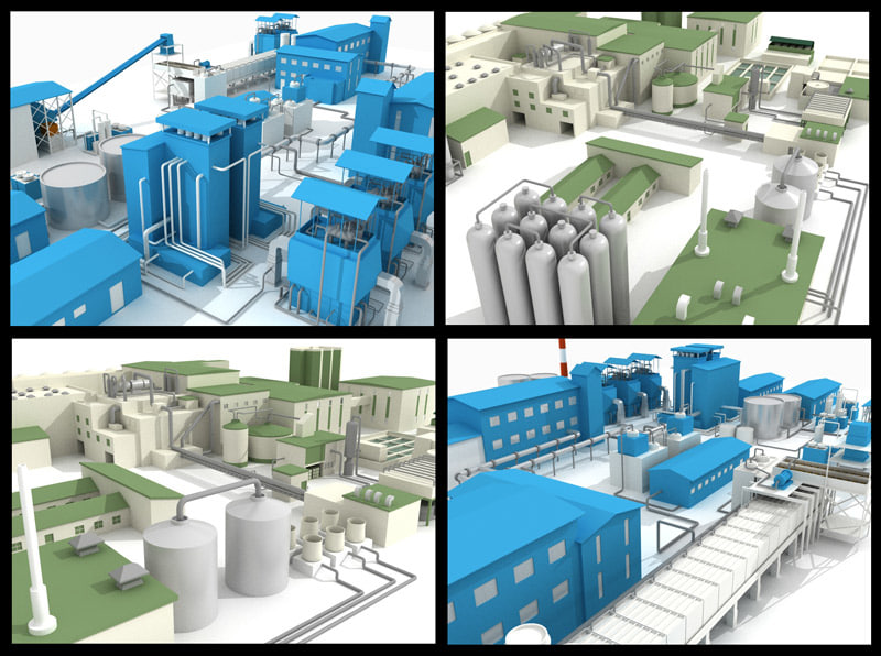 sugar starch factory 3d model