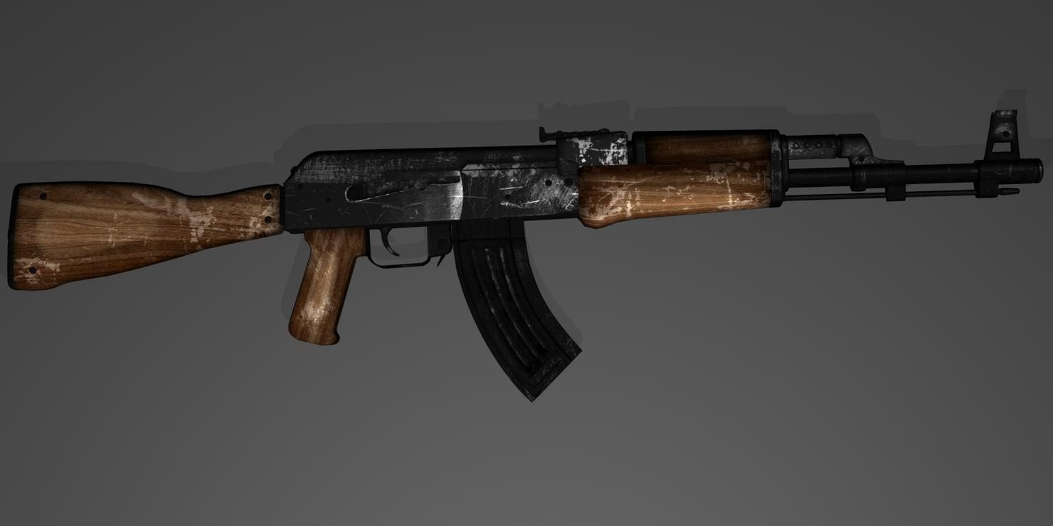 3d model rifle ak-47 7 ak