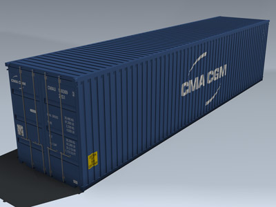 3d cargo container 40ft 40