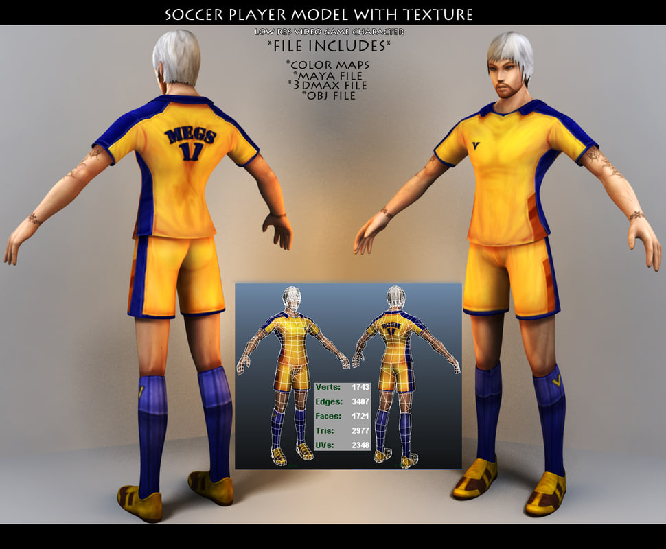 soccer player 3d obj