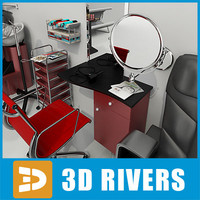 hair beauty salon furniture 3ds