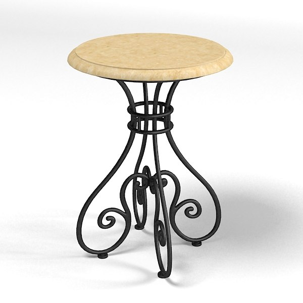 hickory white table 3d model