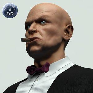 3dsmax tuxedo old man cigar