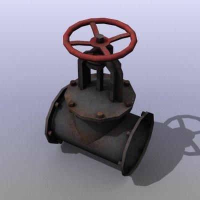 low-poly gas valve 3d model