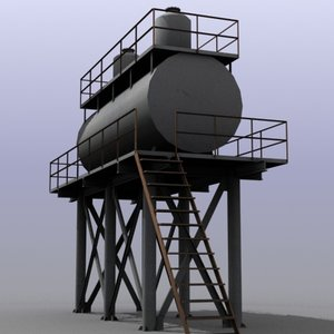 3ds low-poly huge water tank