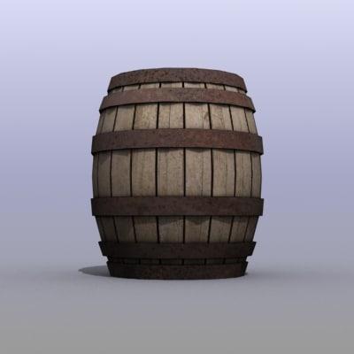 3d model old wooden drum