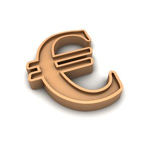 3ds gold euro currency sign