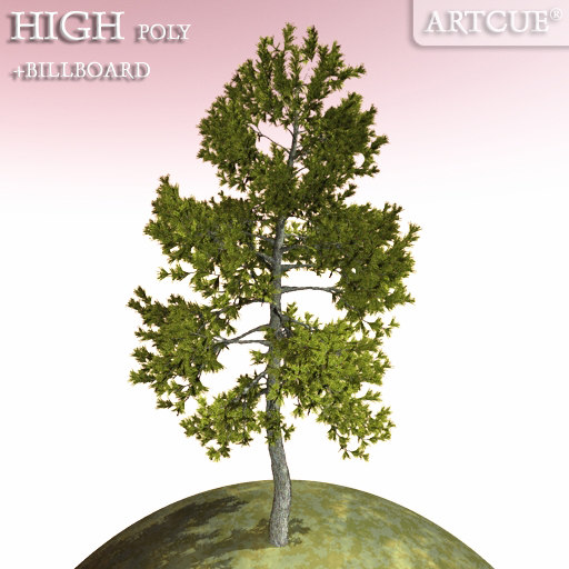 3d model tree high-poly leaves