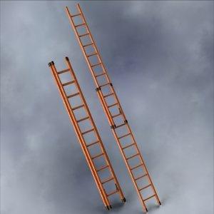 extension ladder 20 foot 3d model