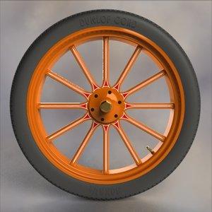 3d model wood wheel tire truck