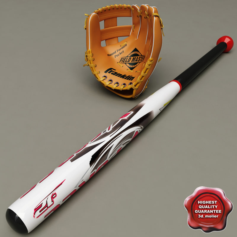 3d baseball glove bat model