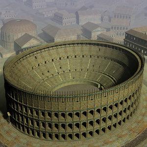 roman buildings 3d model