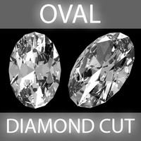 3d model oval diamond cut
