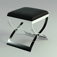 chrome leather stool - 3d max