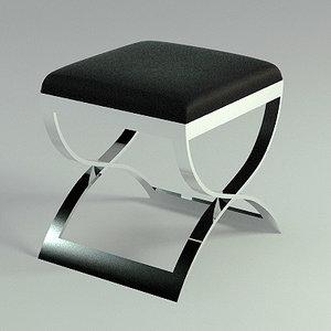 chrome leather stool - 3d max