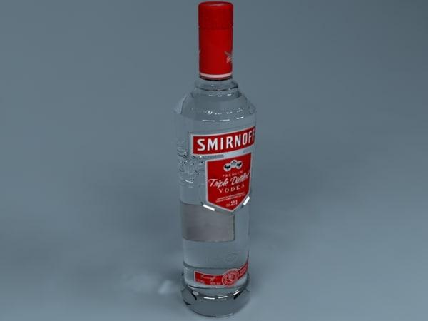 3d model smirnoff vodka bottle