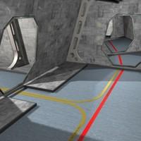 3d space cruiser interior scene