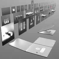 UK electrical switches & sockets pack - flush metal