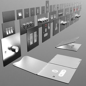 flush metal switches sockets 3d 3ds