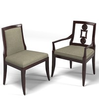 Baker Laura Kirar  vienna upholstered dining chair contemporary arm armchair  9149 9148