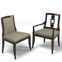 Baker Laura Kirar  vienna upholstered dining chair contemporary arm armchair  9149 9148