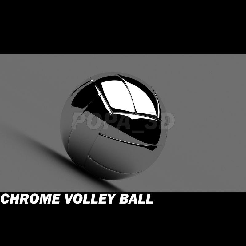 volley ball chrome materials 3d model