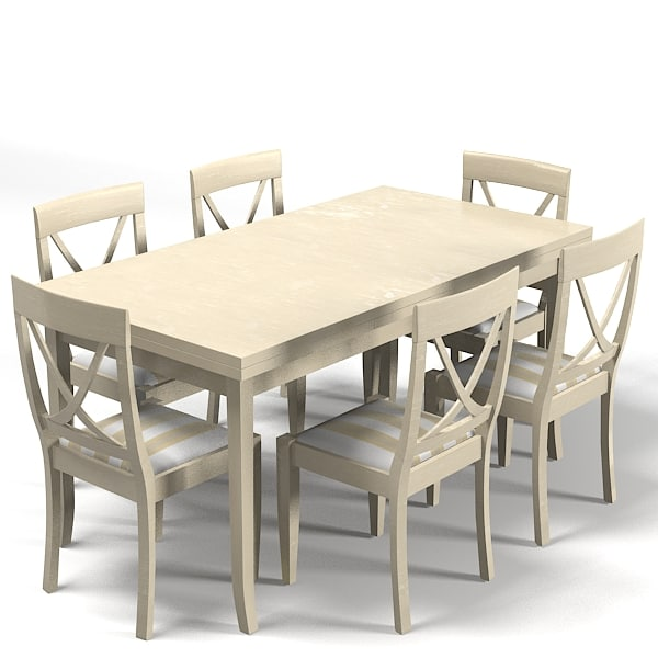 Country style dining 3d model for Country style dining table