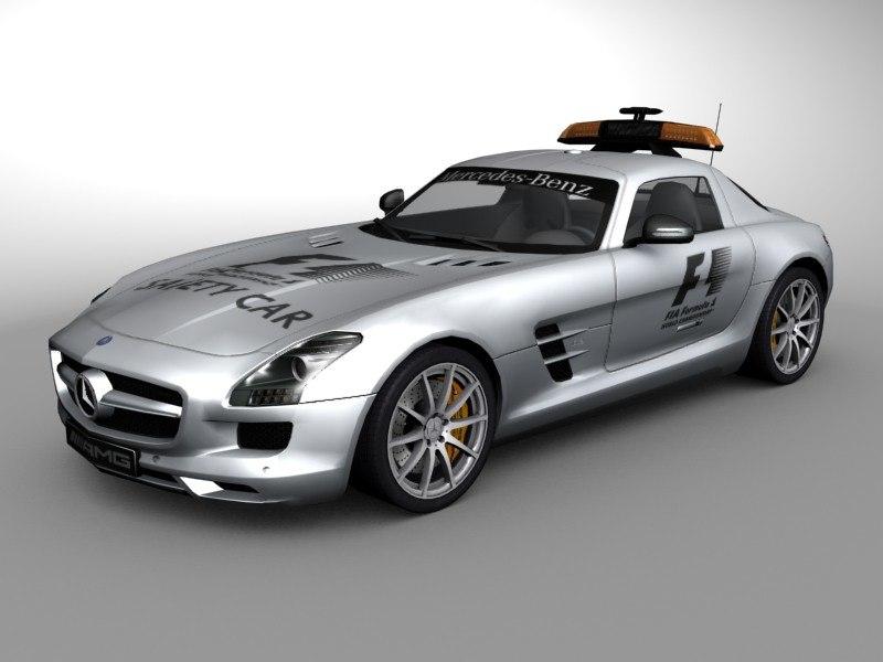 mercedes benz sls safetycar 3d 3ds