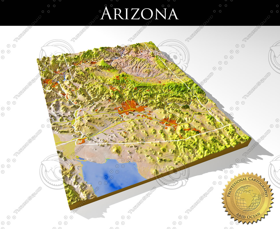 3d Map Of Arizona.Arizona High Resolution 3d Relief Maps