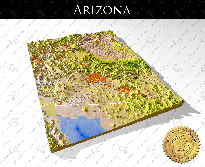 Arizona High Resolution 3d Relief Maps