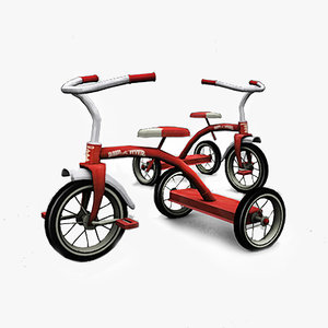 classic children tricycle 2 3d 3ds