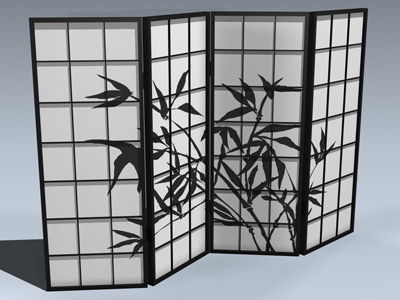 3ds max shoji screen 4-panel
