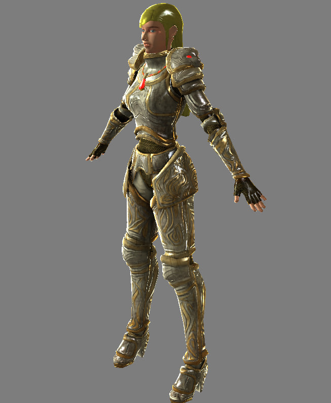human female knight - 3d model
