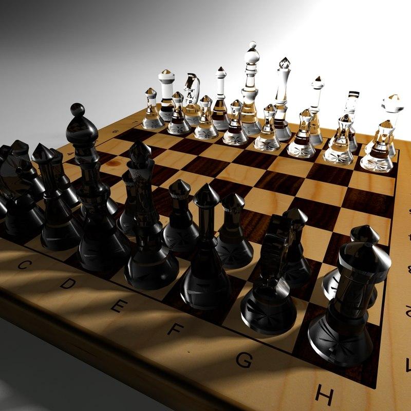 3d chessboard chess figures