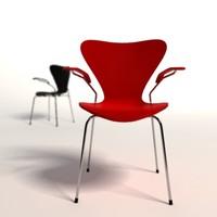 3d model arne jacobsen 3107 armchair